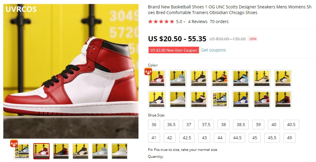 Screenshot of an expensive pair of shoes one can find on AliExpress