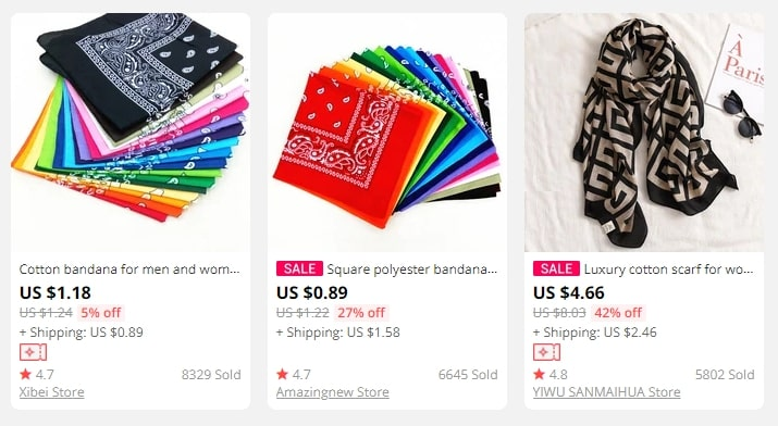 Colorful head scarfs popular among AliExpress buyers - a new dropshipping niche idea for 2021