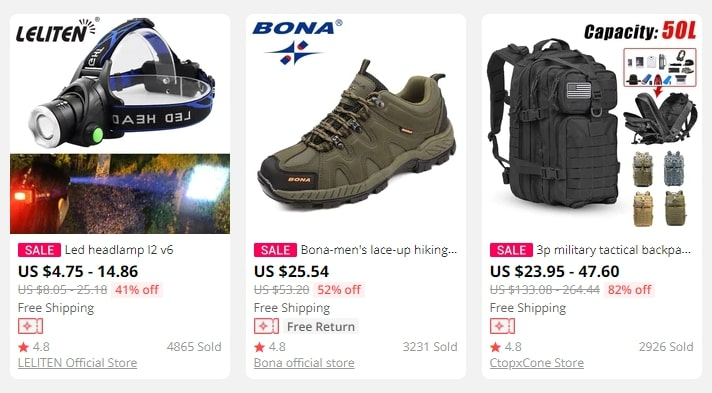 Hiking equipment is becoming one of the trendy dropshipping niches of 2021