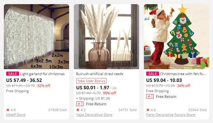 Three images of home décor products
