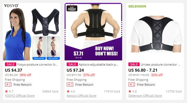 Images of people wearing posture correctors