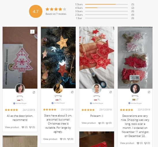 Example of customers' reviews created with the Reviews Page add-on