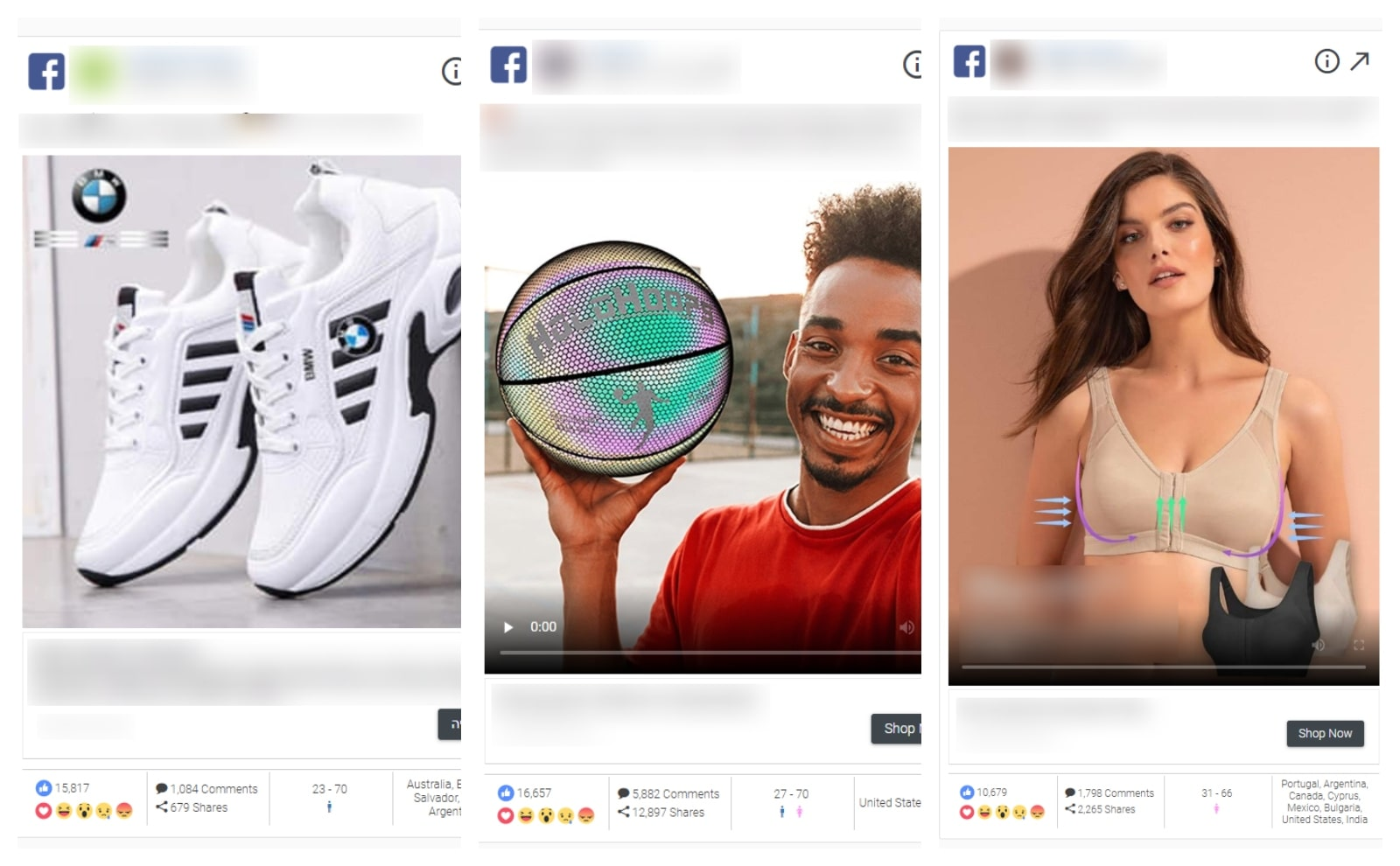 Examples of dropshipping ads on Facebook advertising sneakers, a basketball and a sports top