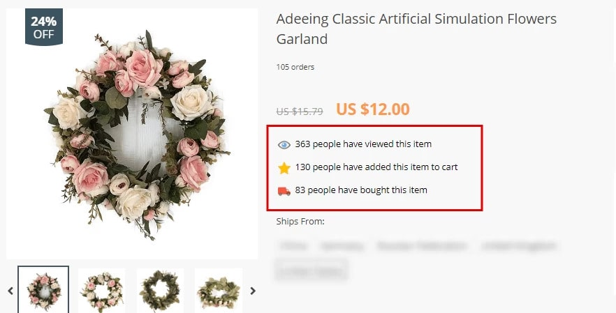 A product page on a dropshipping website that uses the Urgency add-on