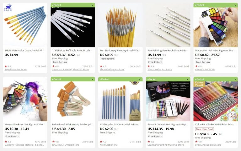 a picture showing lots of art suppliers to sell in bulk