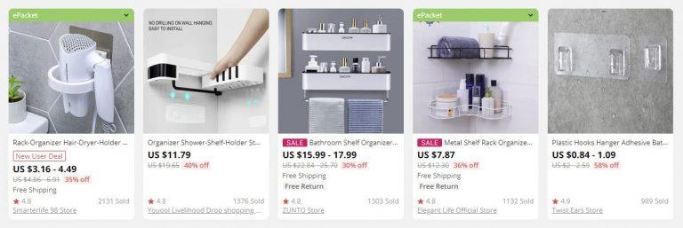 Produkte, um das Badezimmer bequem zu machen