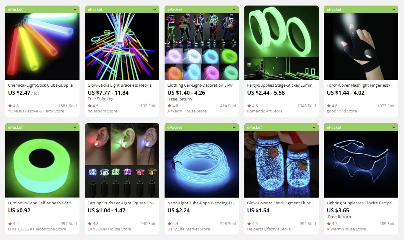 a screenshot showing you can use glow party supplies for business