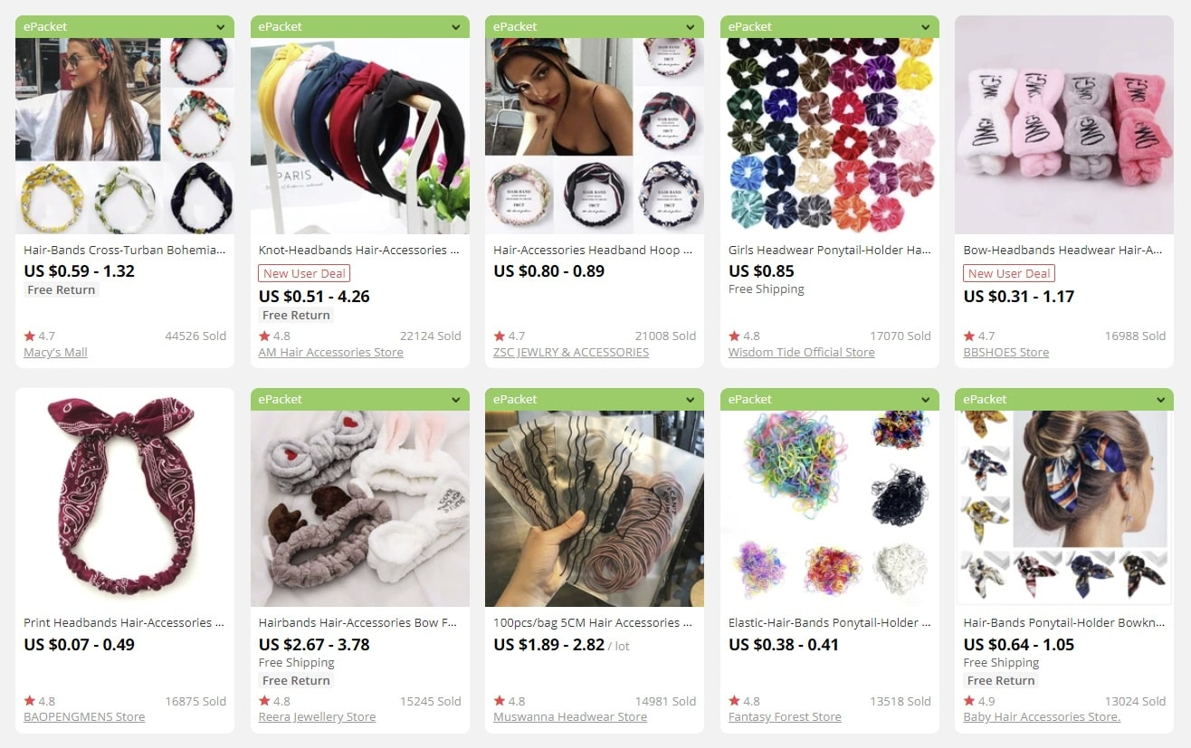 a screenshot showing hairbands as bulk items for sale