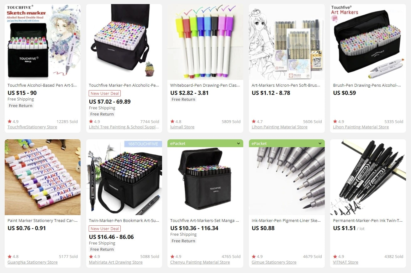 a screenshot showing that you can use stationery as bulk items for sale