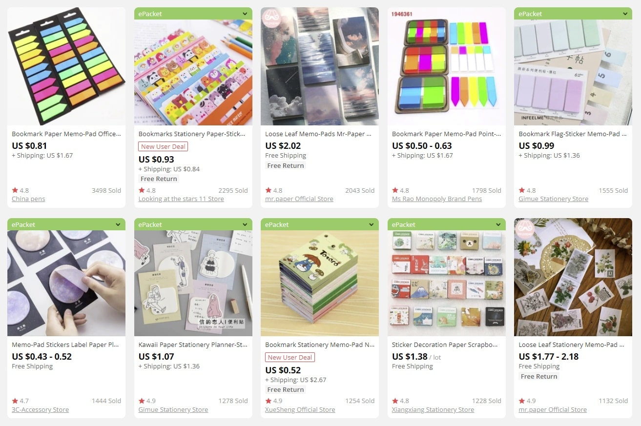a screenshot showing perfect products for back to school shopping