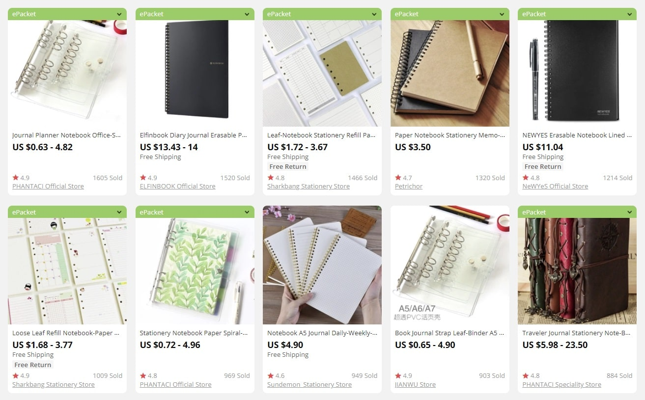 a picture showing notebooks and their prices