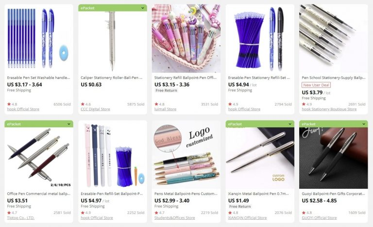 a picture showing pens as bulk items for sale