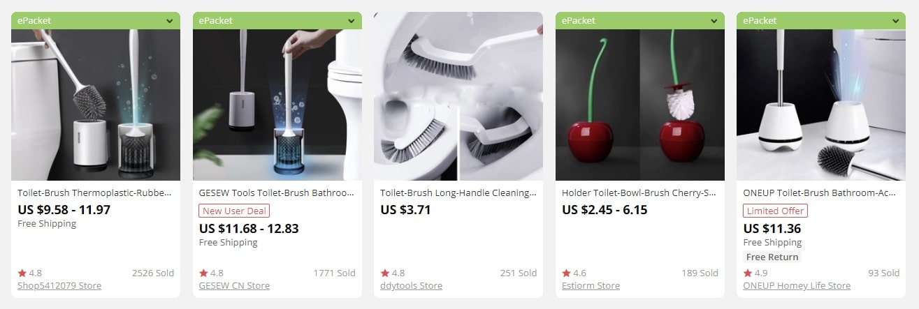 a screenshot indicating examples of bulk items for sale