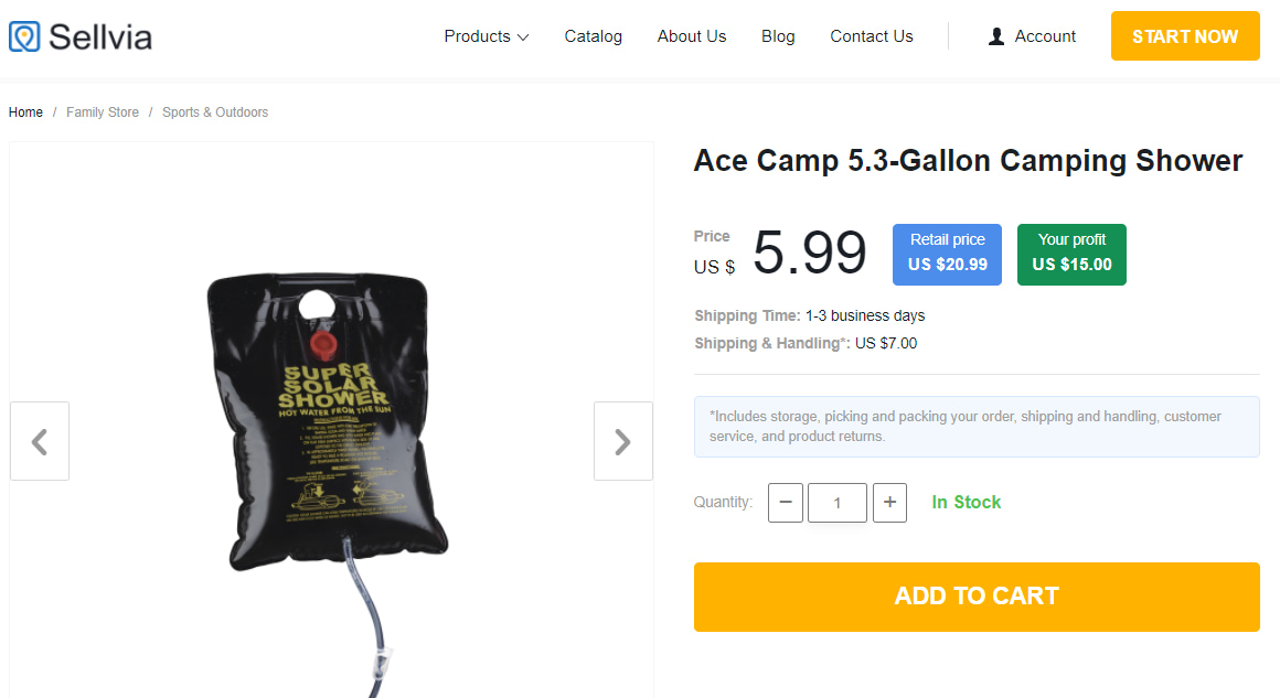 Camping shower as an example of camping and hiking equipment
