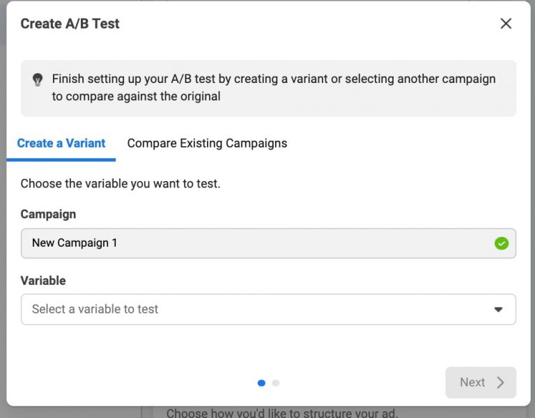 Screenshot of Create A/B Test box in Facebook Ads Manager