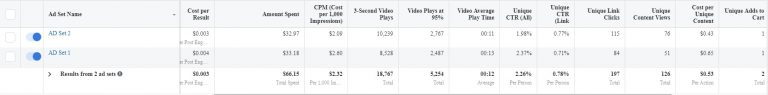 Important metrics for a Facebook PPE campaign