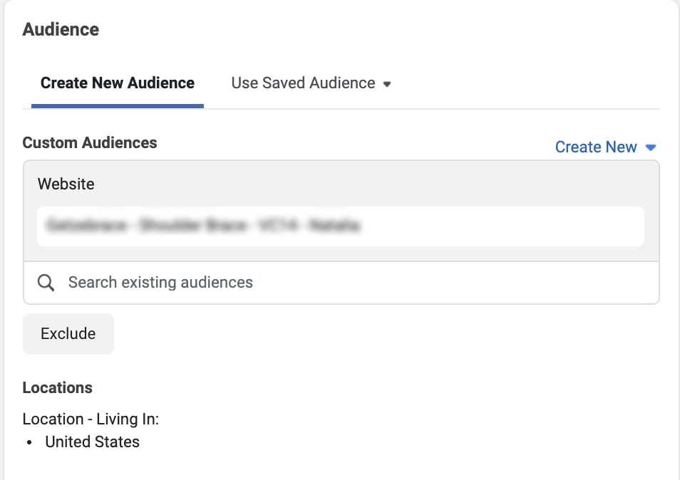 When creating a new audience for remarketing on Facebook, one has to exclude certain sections