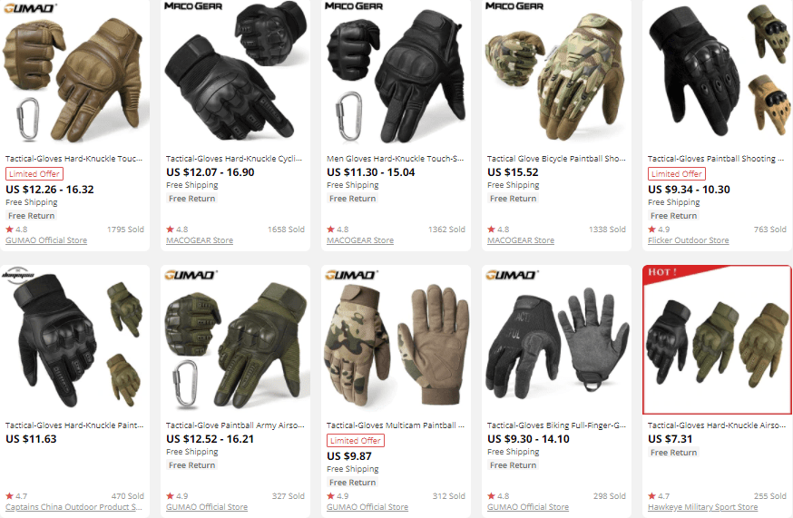 dropship outdoor gear gloves