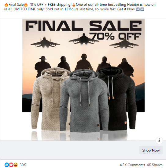 An example of a Facebook ad triggering the sense of urgency