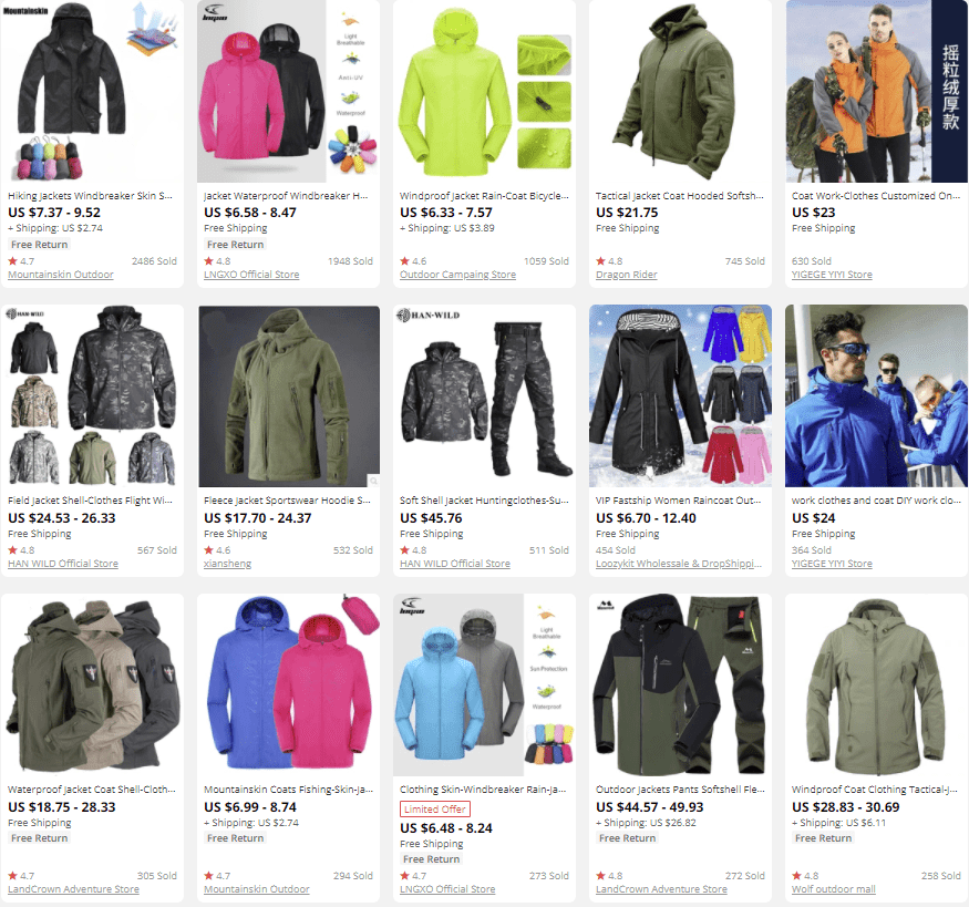 dropship outdoor gear jackets