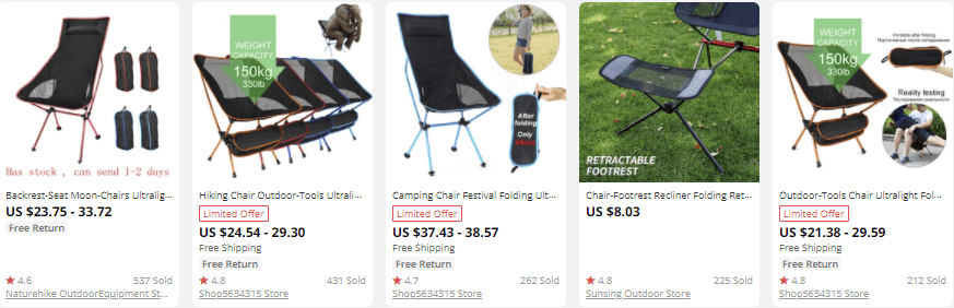 dropship outdoor gear camping chairs