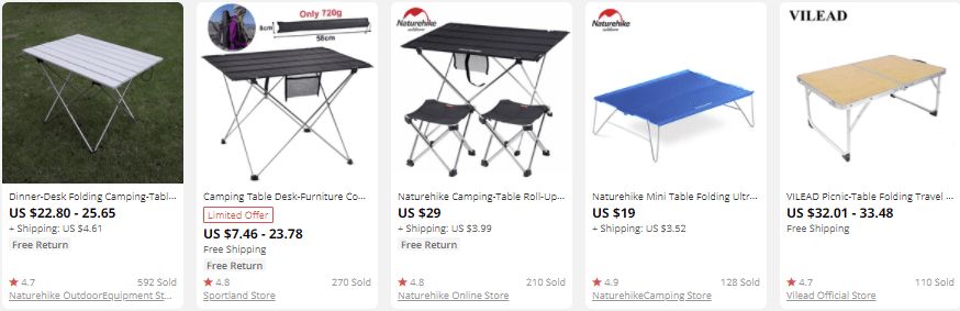 dropship outdoor gear camping tables