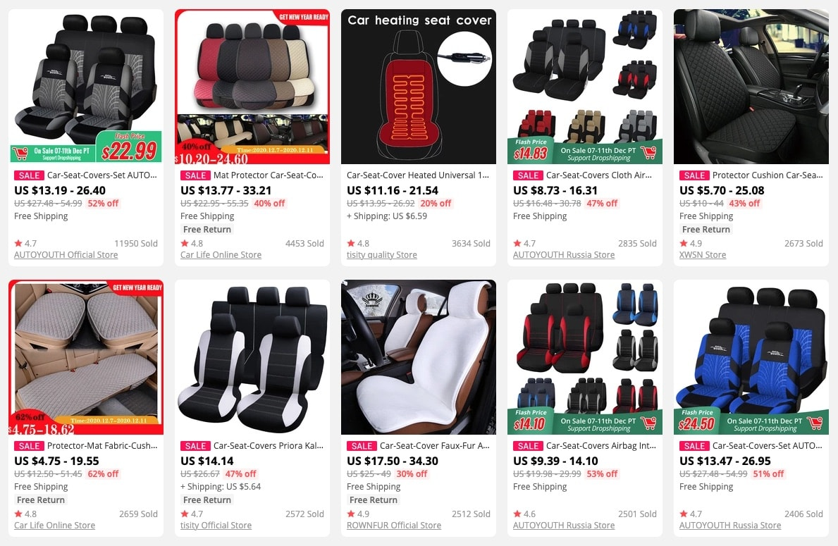 an image showing car seat covers as trending products to sell in 2021