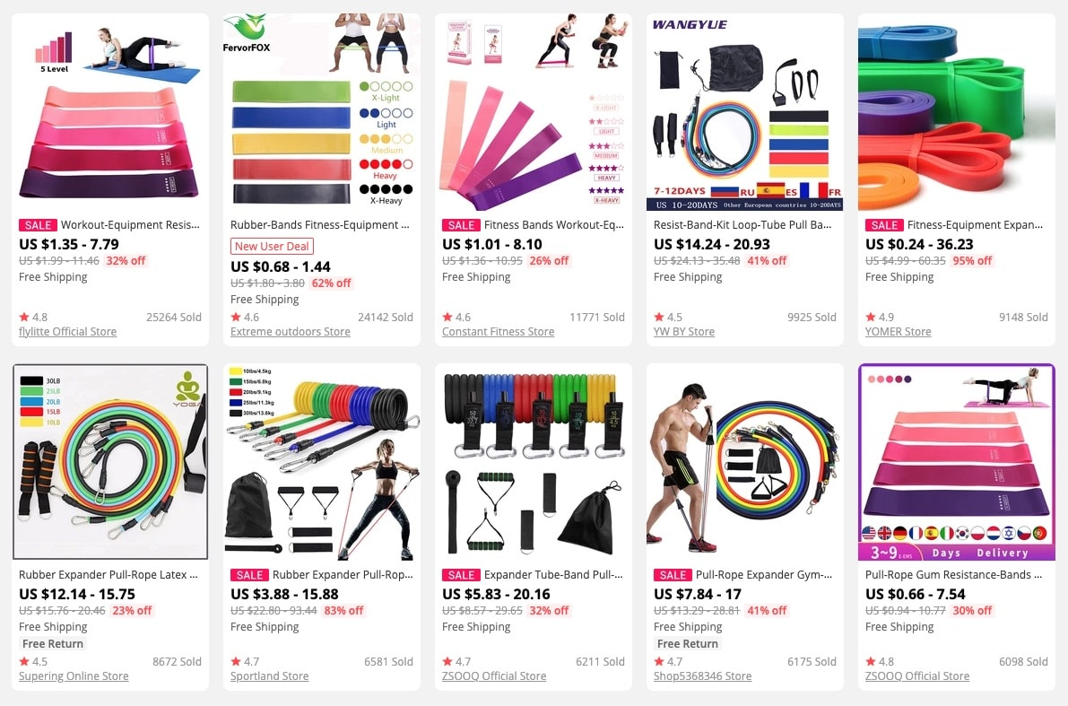 a picture showing resistance bands as hot products for your online store
