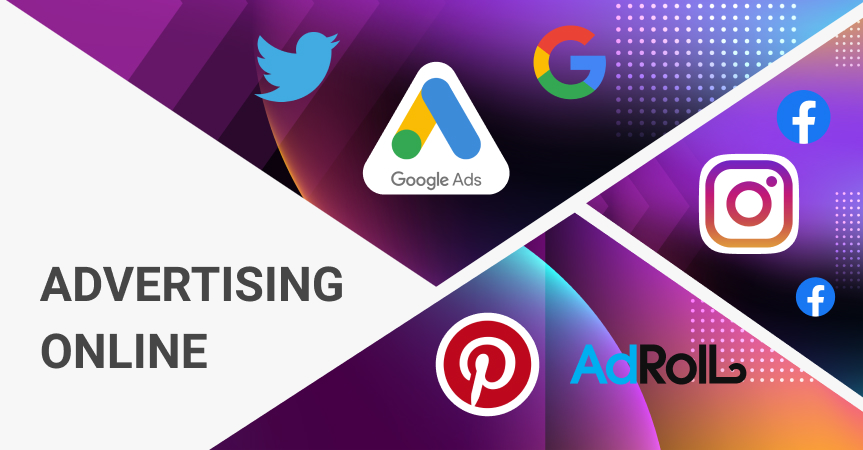 Which is a benefit of advertising online? Logos of marketing platforms for online advertising.