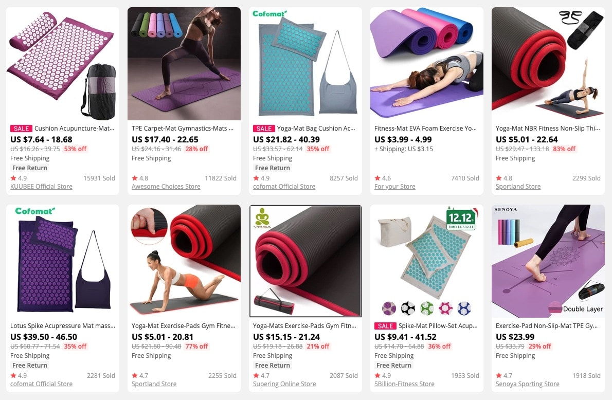 a picture showing yoga mats as trending products to sell online