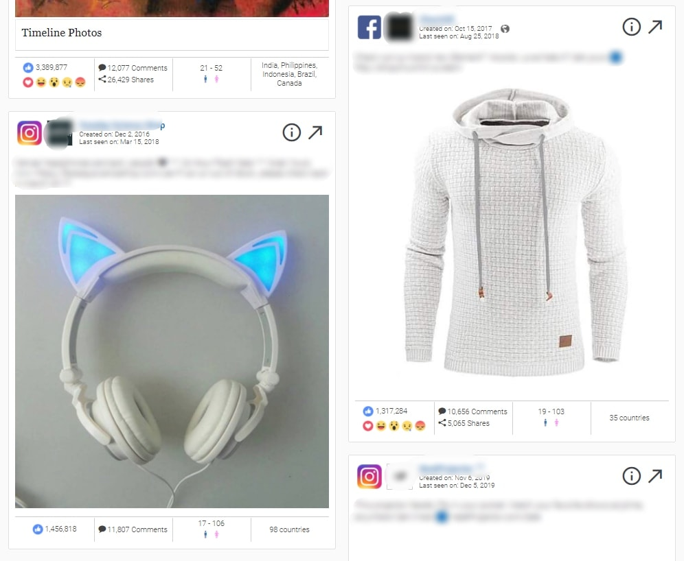 Examples of dropshipping ads of earphones and a sweater found on AdSpy
