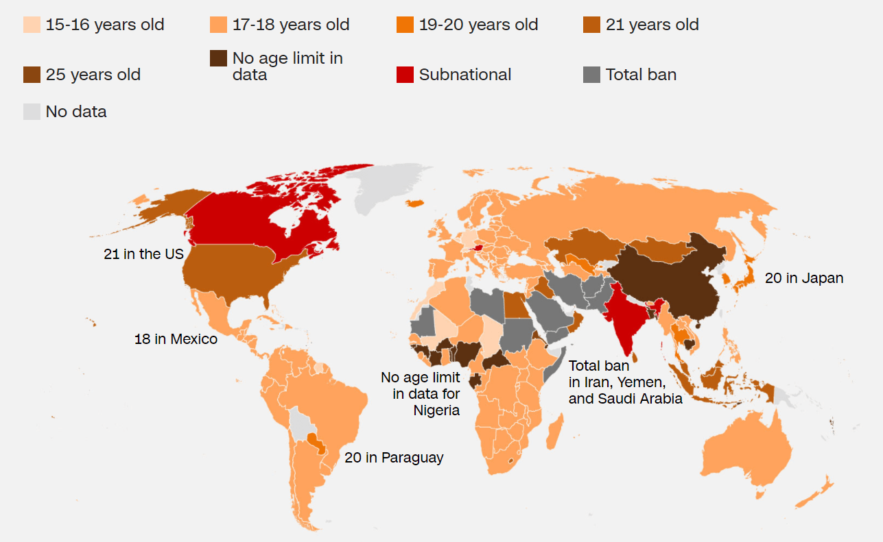 Legal drinking age by country