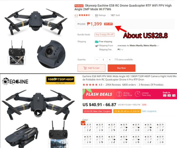 Screenshot of identical drones listed on Shopee and AliExpress, and their pricesr