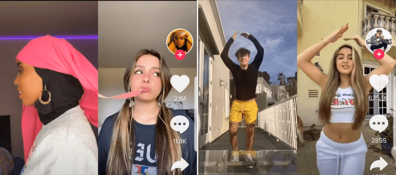 An example of TikTok dueting