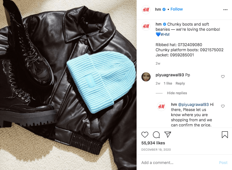 An example of promoting apparel through creating unique social media content