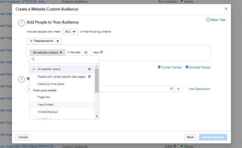 Creating a Facebook custom audience consisting of site visitors