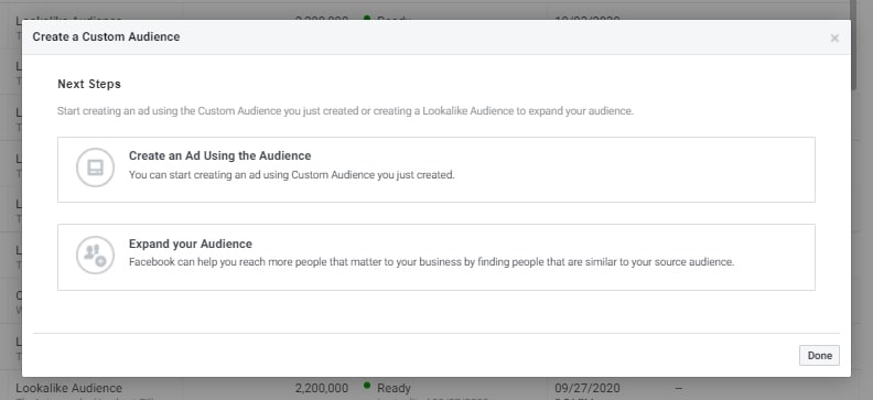 Creating a lookalike audience to make money with Facebook ads