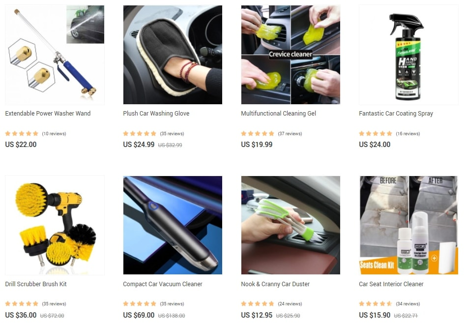 A dropshipping store page demonstrating car accessories with similar functions to motivate clients to buy more