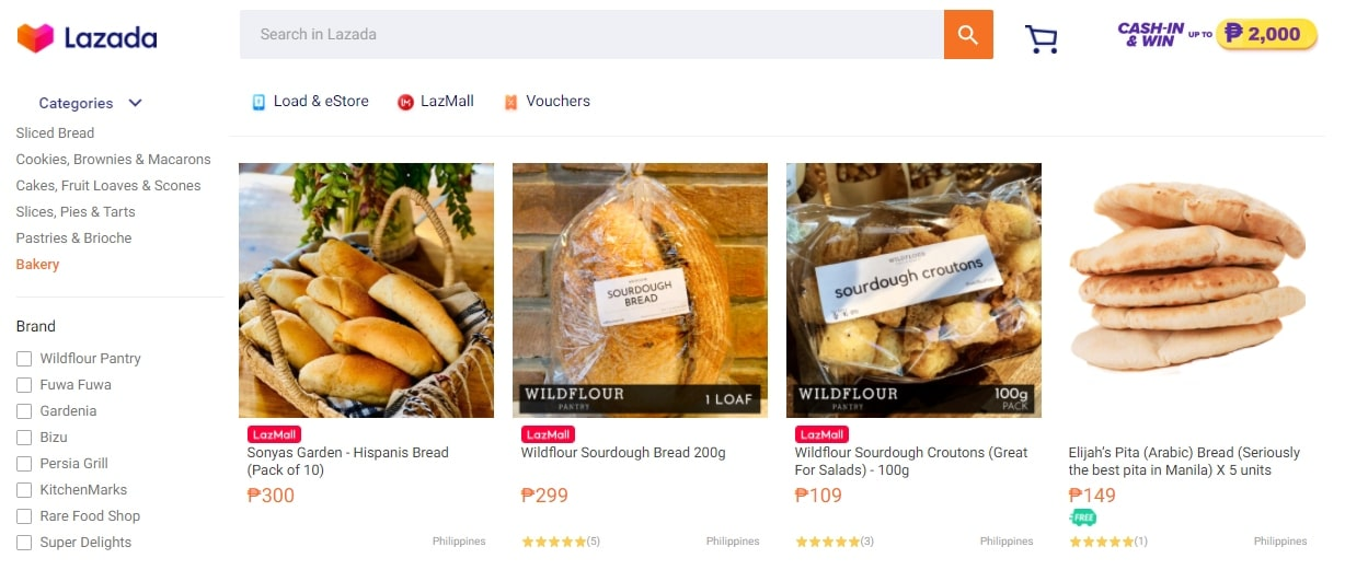 Screenshot of groceries and pet products on Lazada