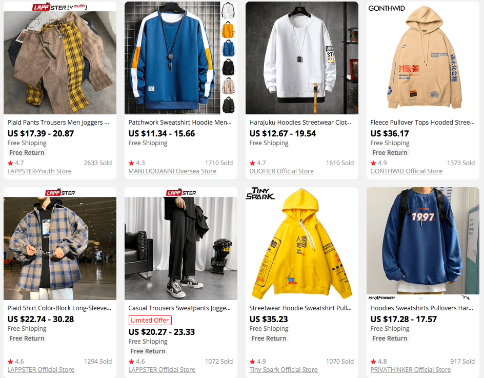 An example of clothing articles of the same style that can fit a thematic store dropshipping apparel