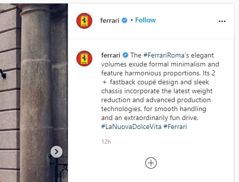 Screenshot of an Instagram post caption published by Ferrari