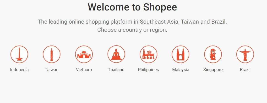 Screenshot of Shopee's homepage showing which coutries are served by the marketplace