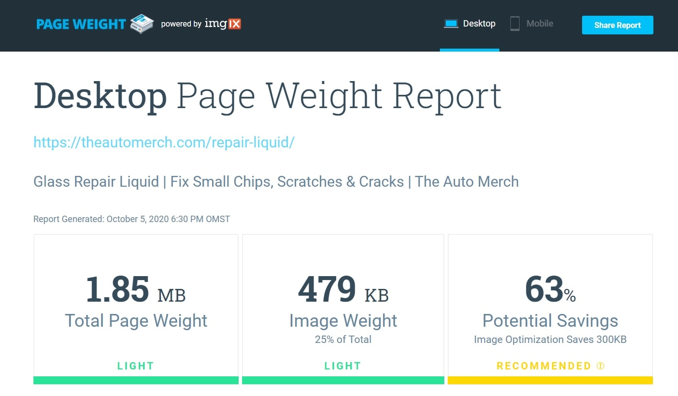 A website page report showing that the page was properly optimized in terms of loading speed