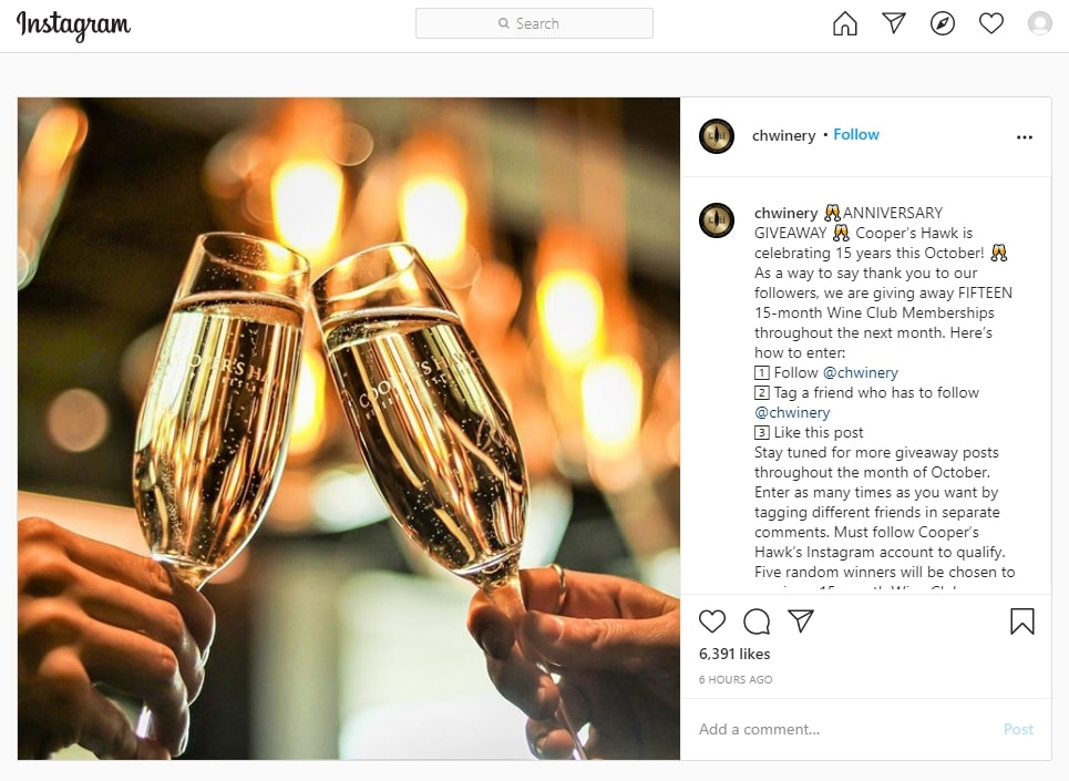 An Instagram post published by Chwinery to celebrate an anniversary with a contest