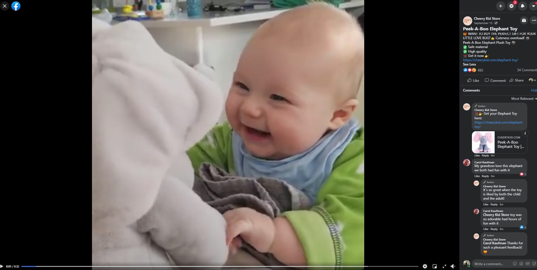 A video of a smiling baby used as a Facebook ad