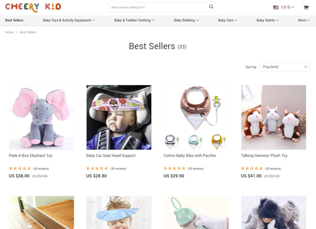 Cheery Kid's Best Sellers category containing the top child products