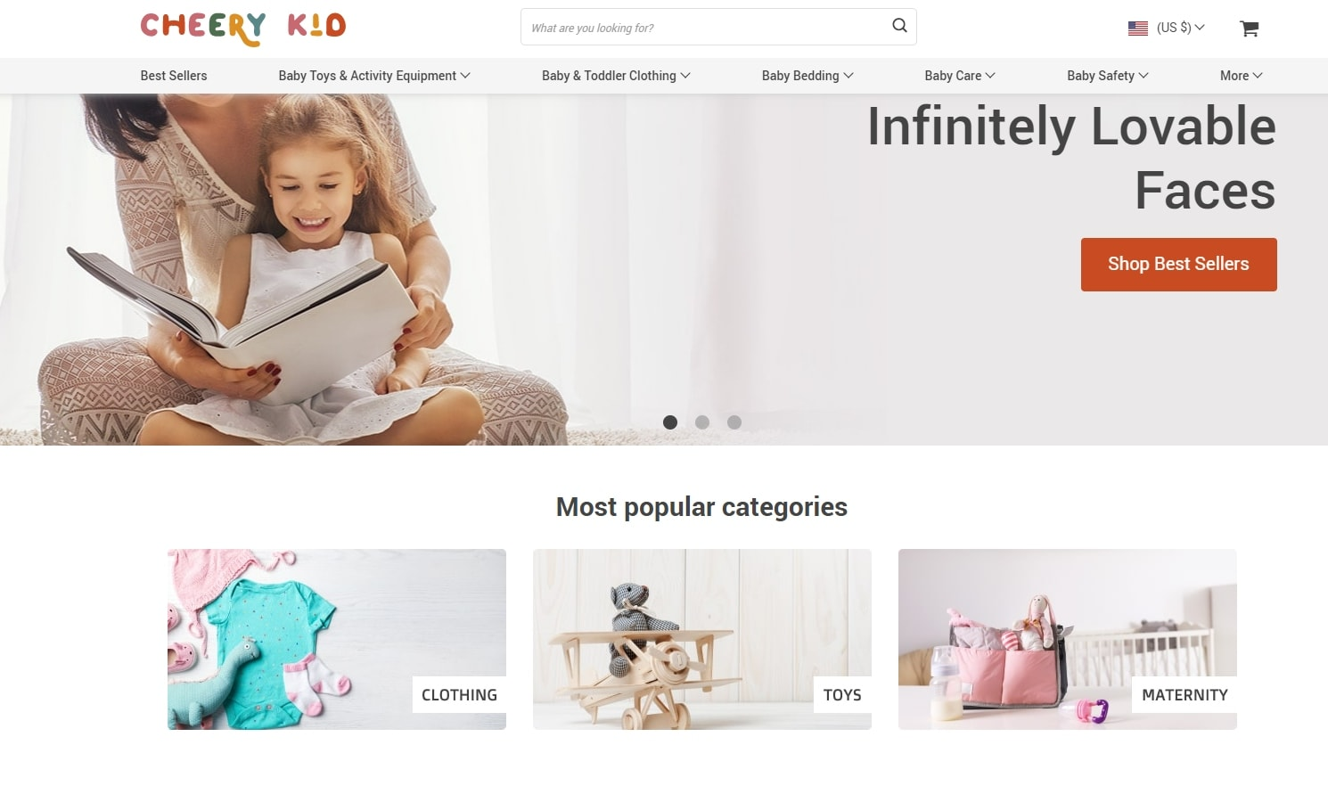 Homepage of a dropshipping store selling baby stuff
