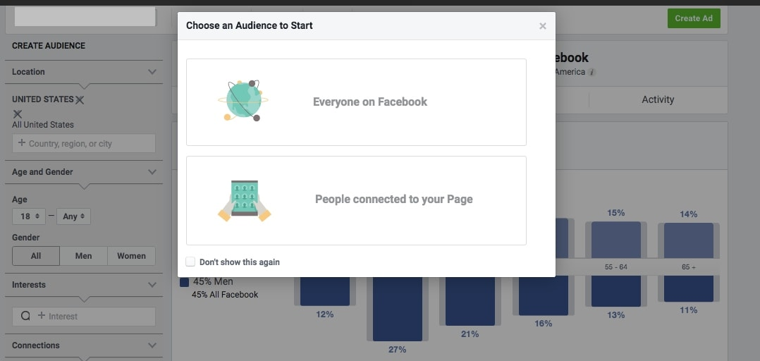 Audience Insights block that lets you choose between two audiences: everyone on Facebook and people connected to your page.