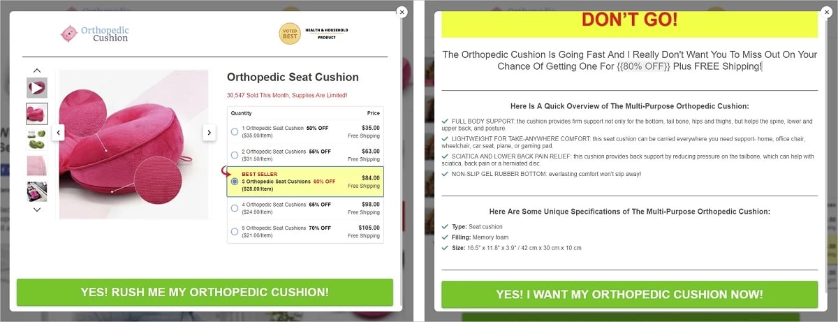 Effective pop-ups on a landing page