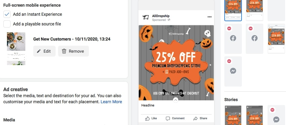 Some Facebook ad types can be created by modifying other ad types. This is an example of creating an Instant Experience.